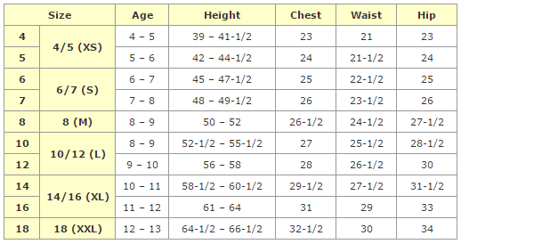 Childrens clothing sizes in canada