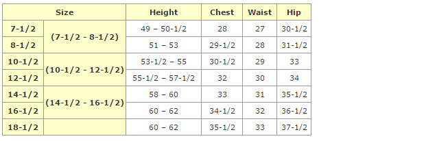 african clothing - girls plus size chart