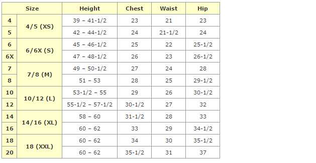 african clothing - girls size chart