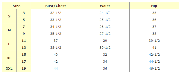 african clothing - junior size chart