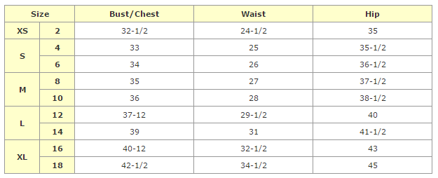 African Clothing Women Pee Size Chart